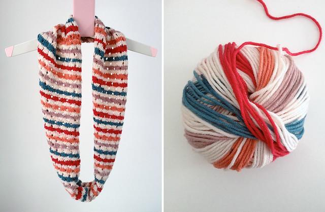 patterned eyelet hoop scarf