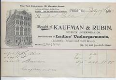 11574  U. S. New York / Philadelphia Pennsylvania Jewish Kaufman & Rubin Store