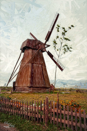 Image of a Wooden Windmill in Belarus