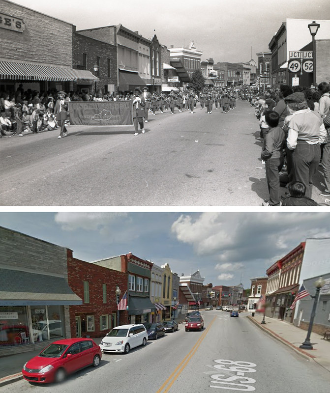 Downtown Lebanon, KY: Main Street to the West of Highway 49, 30 Years Apart