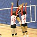 Volleyball Carabins tournament in Montreal. McGill Hornets blocking