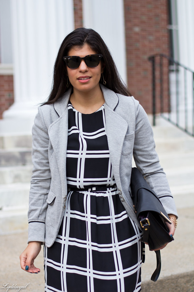 grid print dress, grey sweatshirt blazer-2.jpg