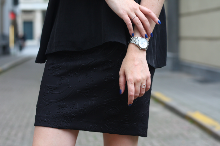 textured pencil skirt selected