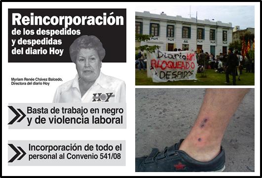 Repudiamos la brutal represión a la manifestación por los despidos en el diario Hoy
