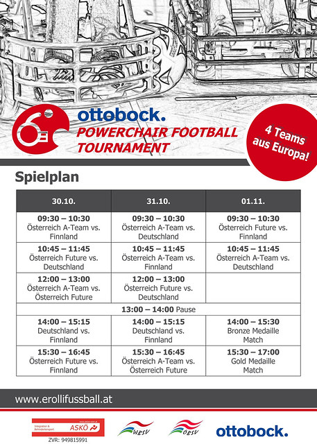 Rückseite Plakat / Ottobock. Powerchair Football Tournament
