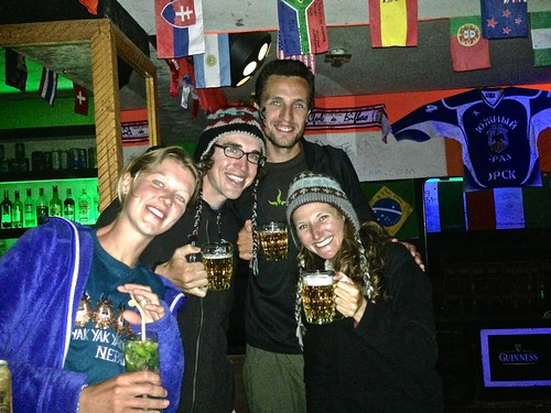 Our new Everest friends, Aly and Jaye, toasting to finishing our trekking!
