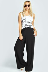 boohoo wide leg palazzo trouser pants black crepe