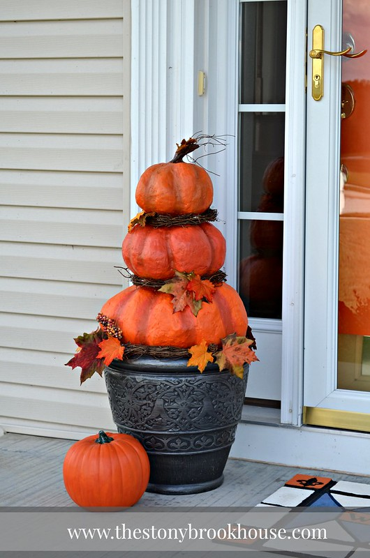 Decorated Stacked Pumpkins