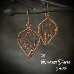 Baby Ferns - Copper Wire Woven Earrings Hanging