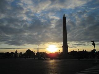 sunset from la Place de la Concorde