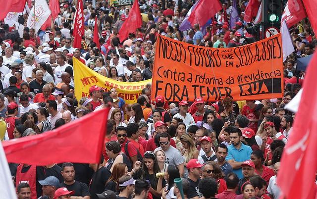 Protesto contra a reforma da Previdência, em 15 de março, em São Paulo. Luta ganha adesão de mais um setor relevante da sociedade brasileira - Créditos: PAULO PINTO / APT / FOTOS PÚBLICAS