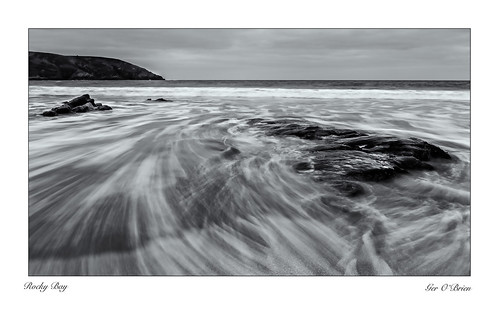 2470 beach cork eire ireland rocky rockybay bay clouds cloudy landscape nikon rocks seascape sky water bw blackwhite