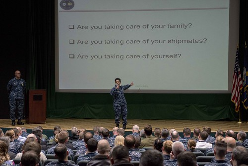 Fri, 03/17/2017 - 13:57 - 170317-N-MZ309-093 NAVAL SUPPORT ACTIVITY NAPLES, Italy (March 17, 2017) Commander, U.S. Naval Forces Europe-Africa Adm. Michelle J. Howard holds a Commander's Call with Fleet Master Chief Raymond D. Kemp for senior leadership at Naval Support Activity Naples, Italy, March 17, 2017. U.S. Naval Forces Europe-Africa, headquartered in Naples, Italy, oversees joint and naval operations, often in concert with allied, joint, and interagency partners, to enable enduring relationships and increase vigilance and resilience in Europe and Africa. (U.S. Navy photo by Mass Communication Specialist 1st Class Ryan Riley/Released)