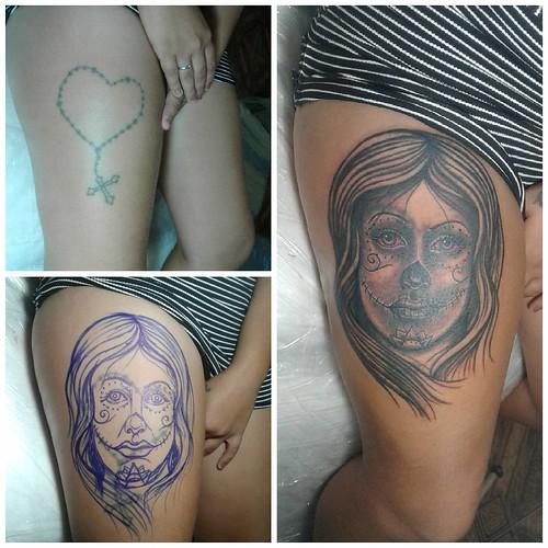 Katrina em preto e cinza... Cobertura freehand de hoje... #katrina #blackandgray #blackandwhite #freehand #coverup #cobertura #amaolivre #tattoo #redeyes