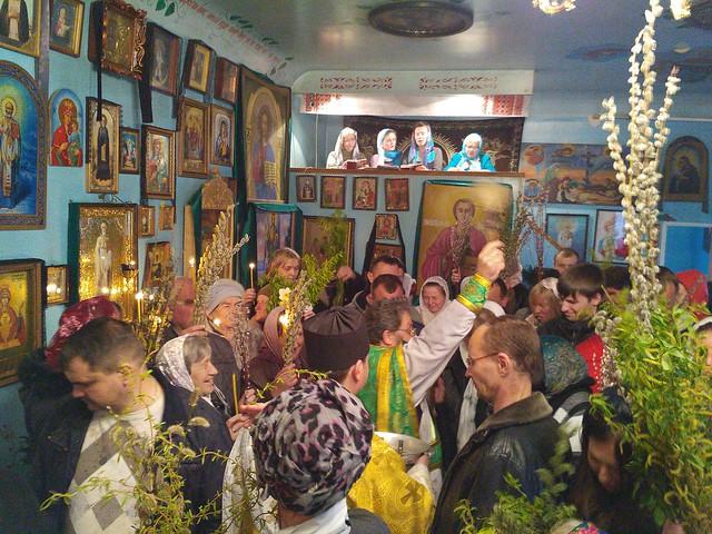 Божественна літургія в храмі Воскресіння Христового у Вербну неділю 9 квітня 2017 року