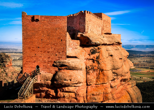 Spain - Aragon - Peracense Castle built on red color rock of San Gines