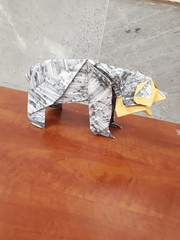 Bear from 50 hours of origami book 50x50 cm