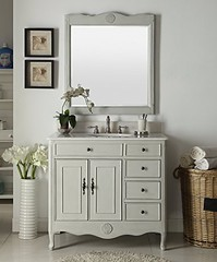 Benton Collection 38″ Distressed Gray Daleville Bathroom Sink Vanity w/Mirror HF-837CK-MIR