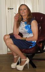 #smile #happygirl #feelingpretty #posing #dress #stockings #nylons #highheels #realscandinavianblonde #happytgirl #transisbeautiful #transvestite #smoking #cigarette #smokingtgirl #sittingpretty