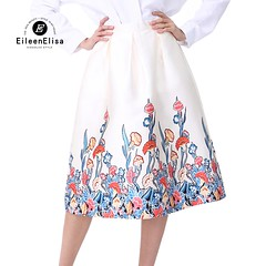 US $24.5 50% OFF|White Skirt Summer Woman 2018 High Waist A Line Skirts Elegant Floral Print Knee Length Skirt-in Skirts from Women's Clothing on Aliexpress.com | Alibaba Group