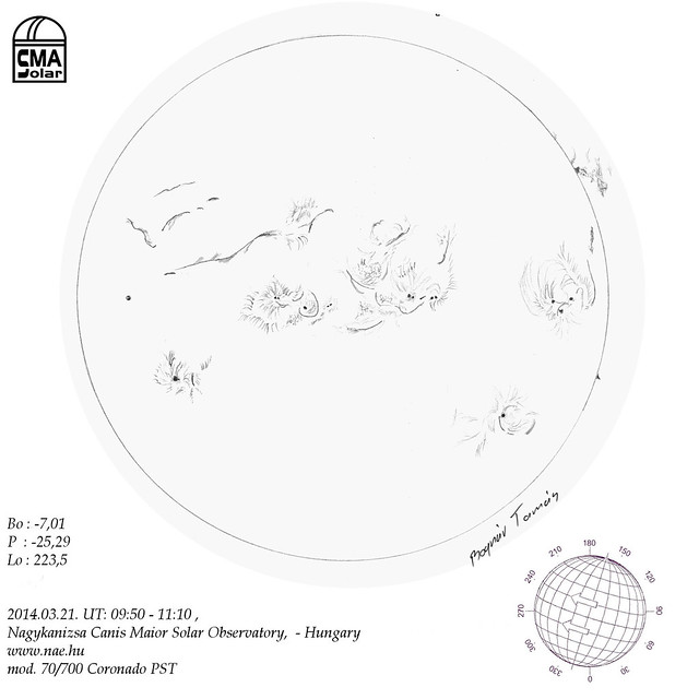 H-alpha Sun - 2014.03.21. - Bognár Tamás - Nagykanizsa Canis Maior Solar Observatory