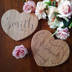Personalised Gifts : Personalised bamboo heart shaped chopping board with custom hand lettering done using pyrography a great wooden wedding gift for couples by RockeryCottage rockerycottage.etsy.com