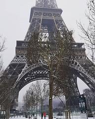 Snowing in Paris.