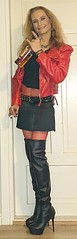 Partygirl! 😁🍻🎉🎊  #smile #happygirl #feelingpretty #posing #leatherjacket #highheels #skirt #miniskirt #fishnets #redfishnets #bodystocking #thighhighboots #drinking #smoking #drinkingandsmoking #cigarette #smokingtgirl #bourb