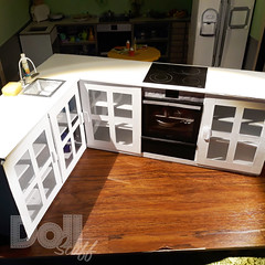 This is my new kitchen. Here are some pictures of the old kitchen. I made it out of cardboard and shut the doors with magnets. I think I need a window over the sink. What do you mean? . #doll #dollcrafting #dollcraft #dollstuff #dollstuffandmore #barbie #