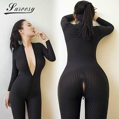 New Sexy Lingerie for Women Open Crotch Black Striped Sheer Bodystocking Bodysui...