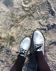 Don't step on my iridescent shoes! #shoeoholic #walkthetalk #shinyshoes #iridescent #drmartens #lookdown #bestfootforward #feetontheground