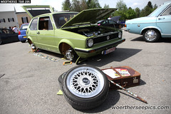 Green VW Golf Mk1 with Crocheted accessories